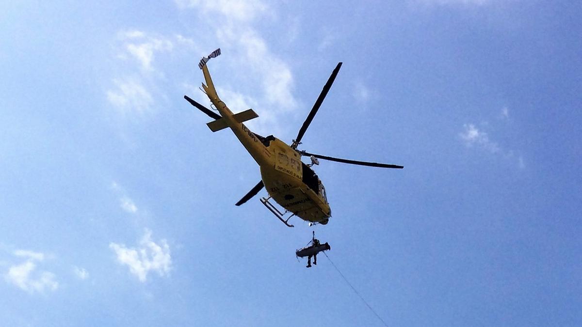 El helicóptero del consorcio provincial de bomberos