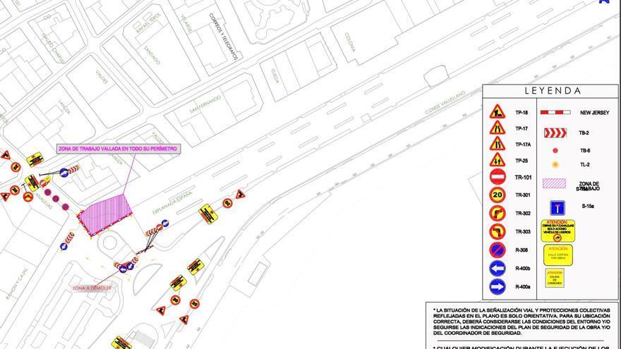 Corte de tráfico en Canalejas por las obras de la Explanada