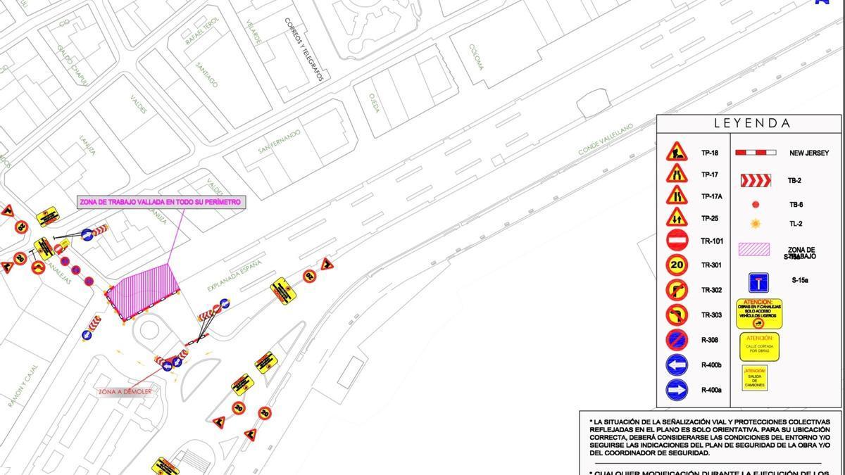 El mapa del corte de tráfico en la calle Canalejas