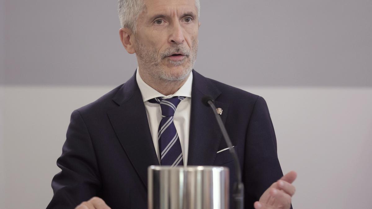 El ministro de Interior, Fernando Grande-Marlaska, comparece en rueda de prensa el pasado mes de julio