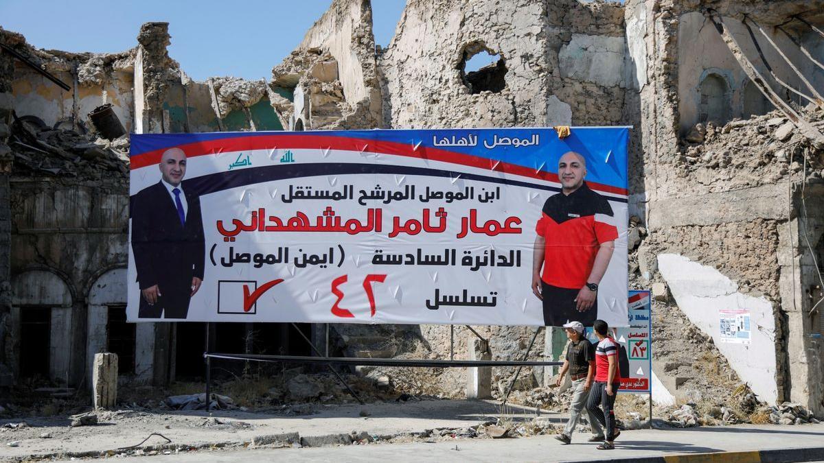 Un cartel electoral en Mosul.