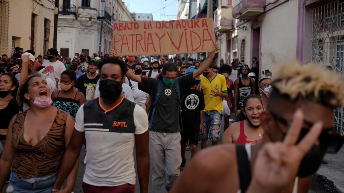 Manifestants cubans anti-govern a l'Havana (Cuba)