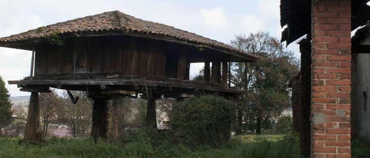 El hórreo ubicado frente al palacio, que muestra un pobre estado de conservación.
