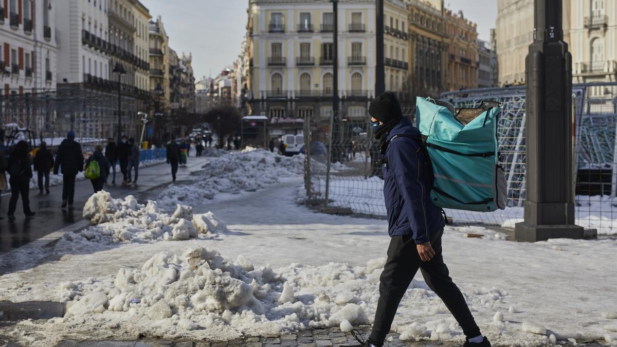 La Puerta del Sol de Madrid durante la borrasca Filomena.