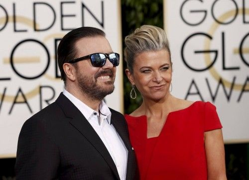 Ricky Gervais and Jane Fallon arrive at the 73rd Golden Globe Awards in Beverly Hills