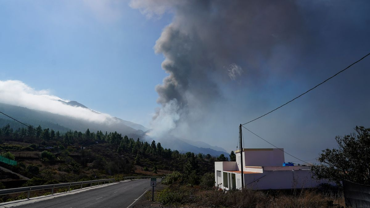 Smoke rises following the eruption of a volcano on the Canary Island of La Palma