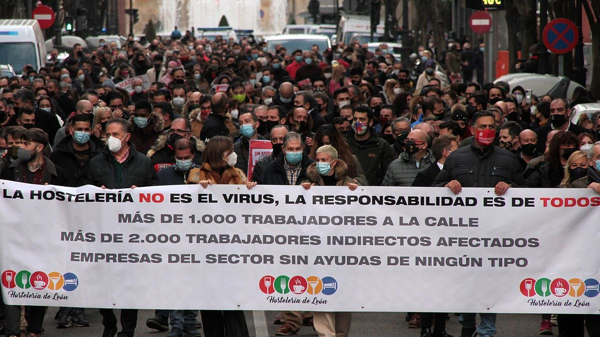 Manifestación de los hosteleros del León el pasado día 12.