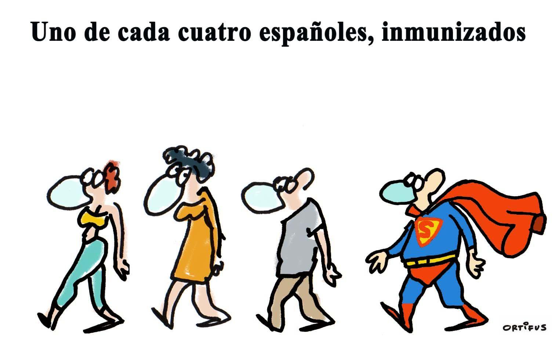 Uno de cada cuatro españoles, inmunizados
