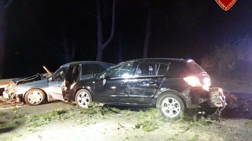 Heridas varias personas en un accidente, provocado por la caída de un pino, cerca de Pina