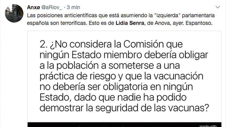 """La eurodiputada Lidia Senra pide a la UE que las vacunas no sean obligatorias porque """"nadie probó su seguridad"""""""
