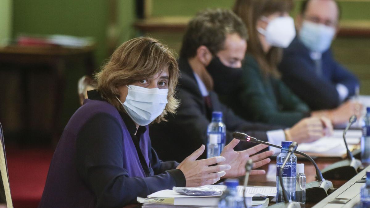 Ana Rivas interviniendo durante un pleno reciente en Oviedo.