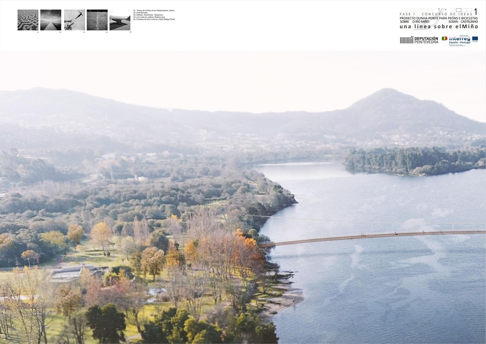 Infografía del puente sobre el Miño de Burgos y Garrido, adjudicatarios del anteproyecto. // Burgos y Garrido