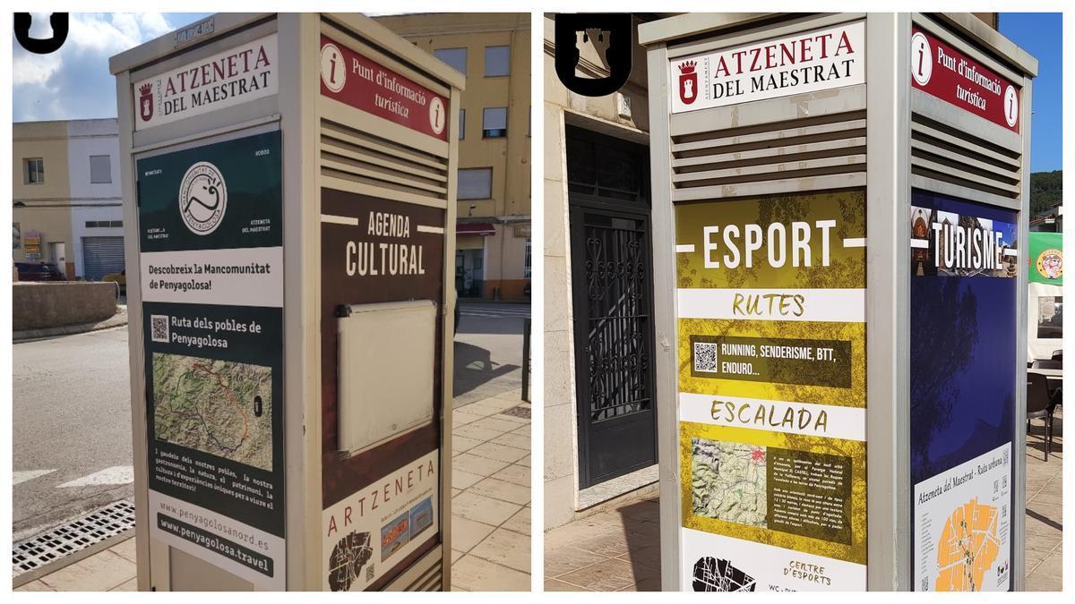 Una cabina telefónica reconvertir en un punto de información turístico y cultural en Atzeneta.