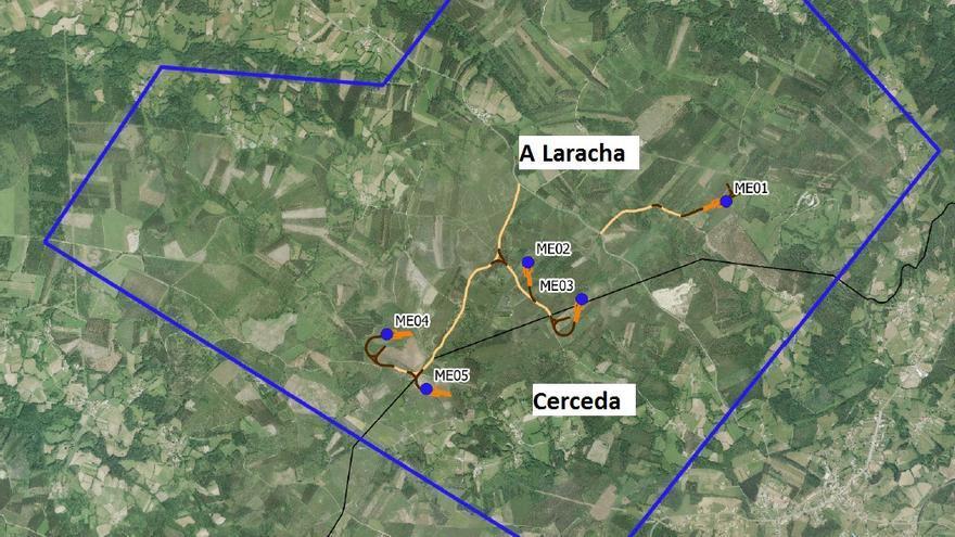 Una empresa tramita un nuevo parque eólico entre A Laracha y Cerceda