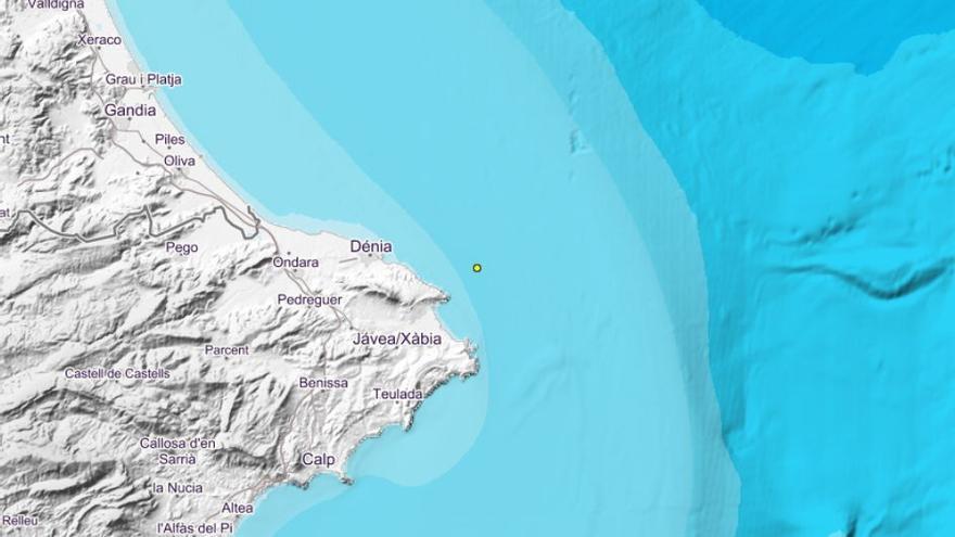 Xàbia registra un seísmo de 1,7 grados en la costa