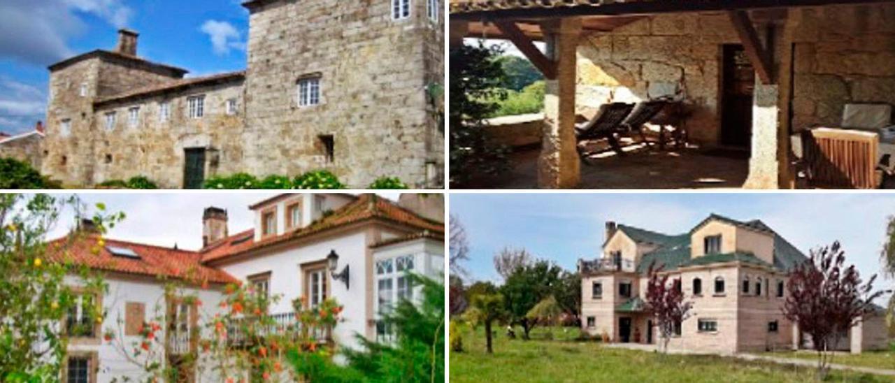 Arriba, un pazo en Pontevedra por 3 millones de euros y una casa solariega cerca de Vigo por 445.000; abajo, un pazo en A Coruña en venta por 950.000 euros y una casa en Lugo por 836.000.