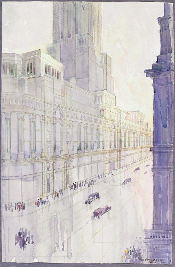Acuarela del proyecto del Banco Hispano Americano firmada por Palacios en 1919.jpg