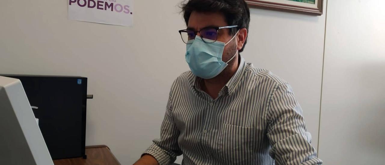 El portavoz de Podemos, David Navarro.