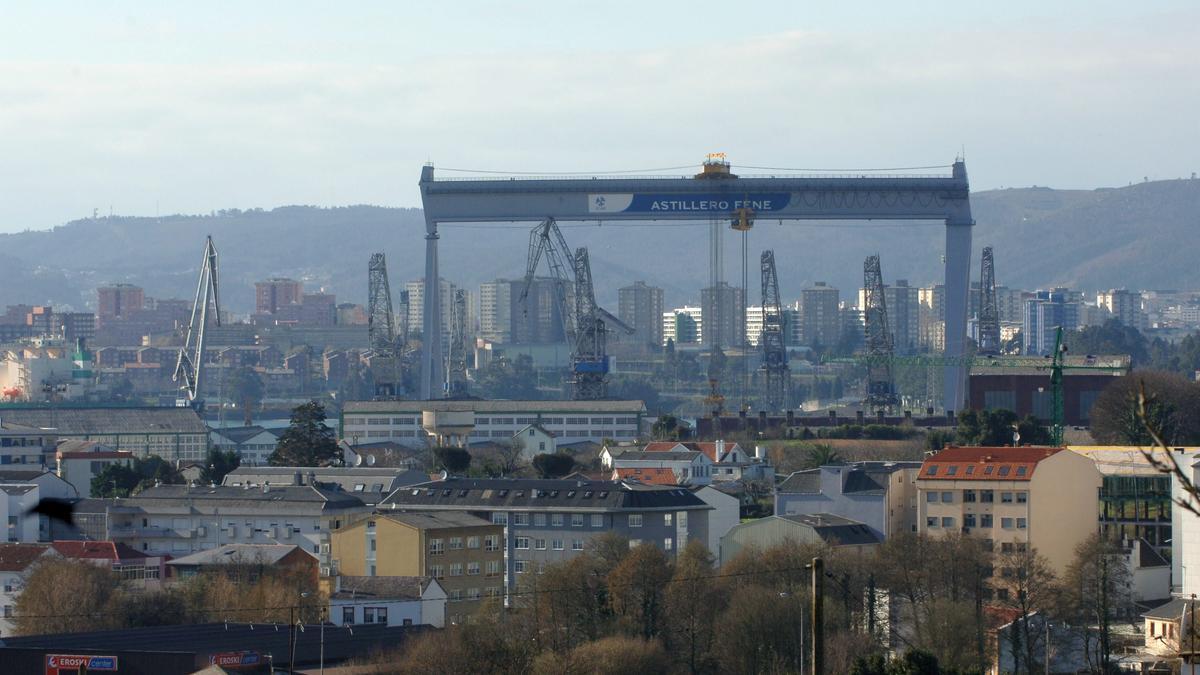 Vista de instalaciones del astillero de Fene. / Carlos Pardellas