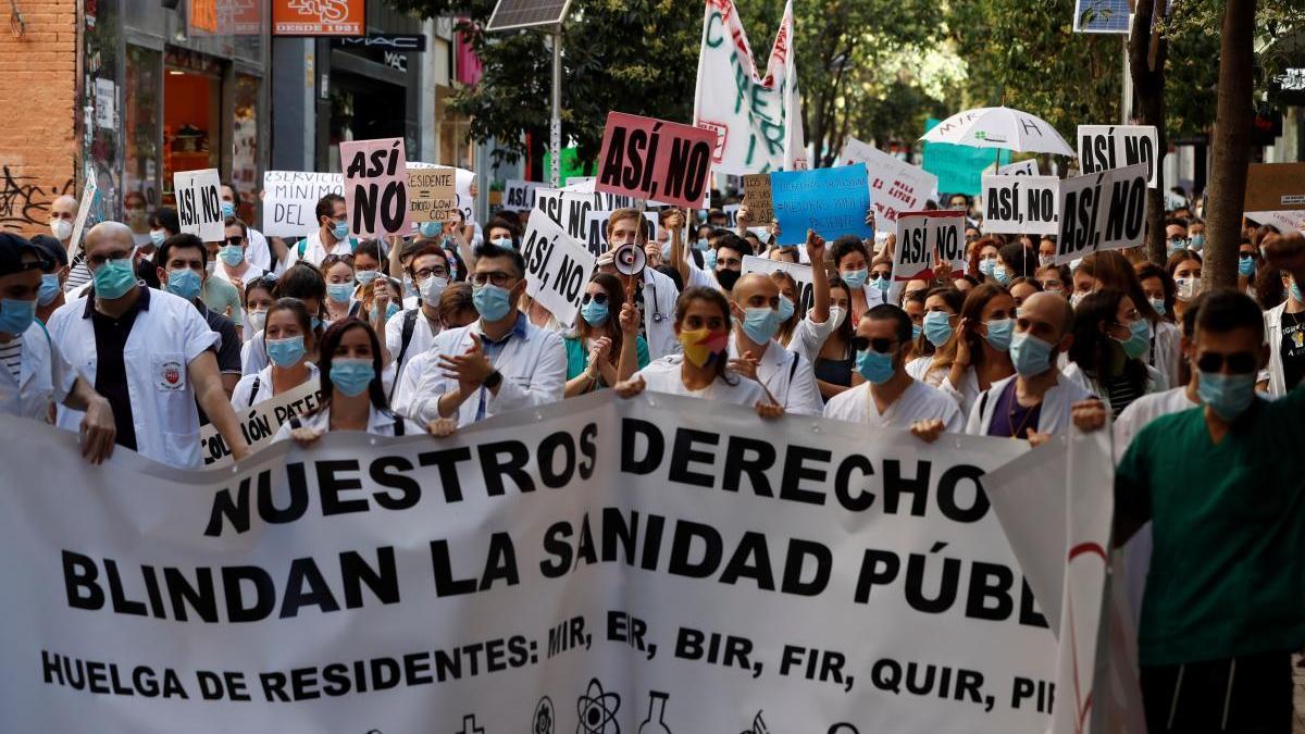 Una imagen de una protesta de los médicos residentes (MIR) en Madrid.