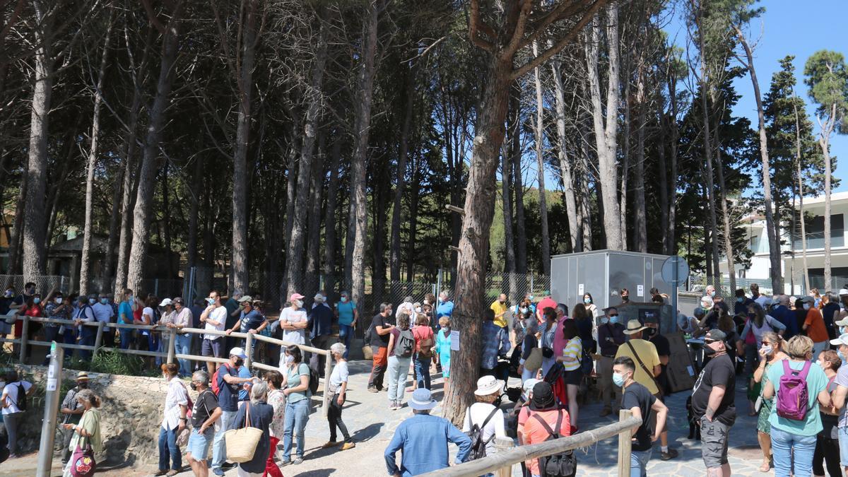 Pla general dels manifestants a la platja de la Farella de Llançà i la pineda al fons aquest dissabte 5 de juny de 2021. (Horitzontal)