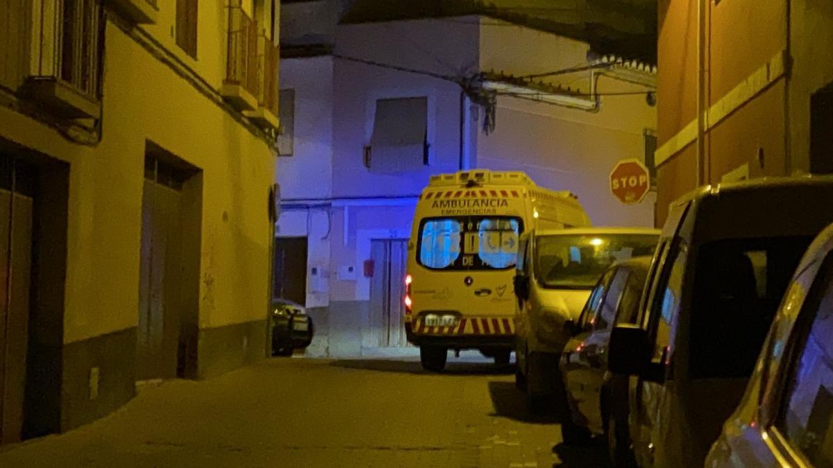 Ambulancia, en el lugar del suceso.