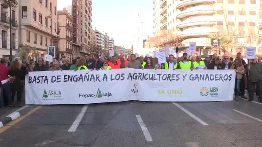 Multitudinaria protesta en Valencia por la dignidad de la agricultura