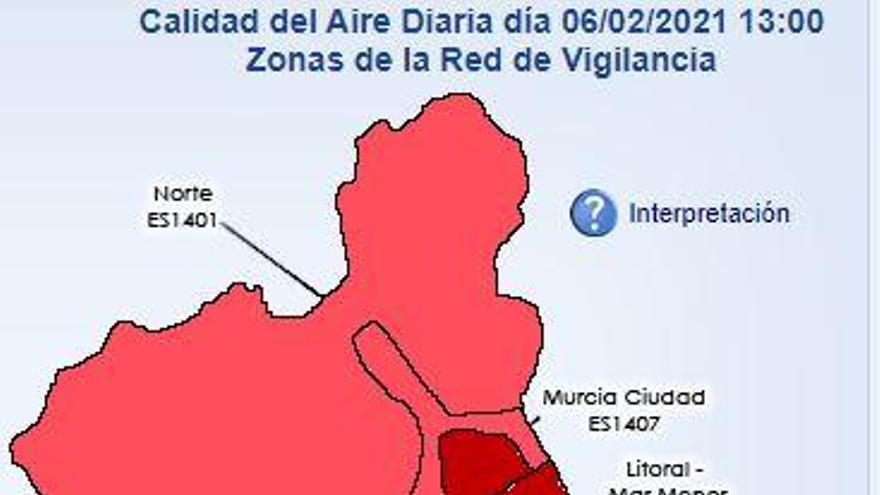 El polvo sahariano activa el nivel más leve por contaminación en Murcia