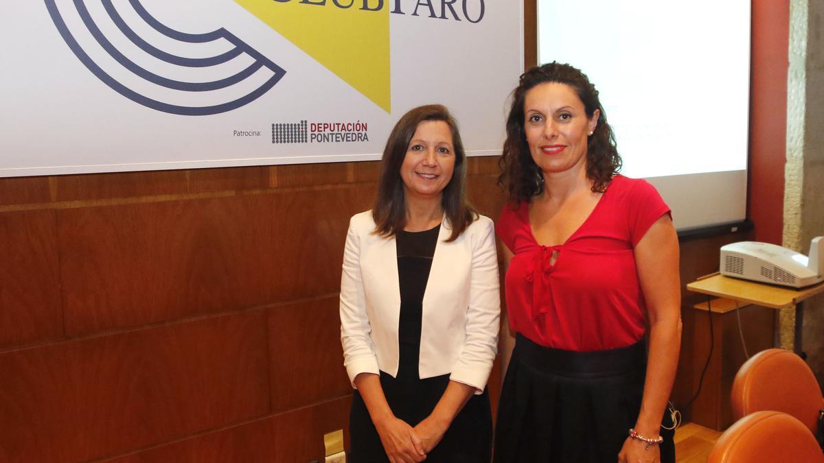 Alba Soutelo, a la izquierda, en el Club FARO con la nutricionista Maika López/ Alba Villar