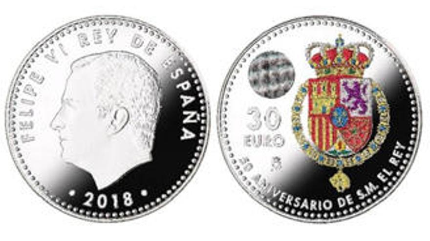 Una moneda de colores de 30 euros para celebrar el 50 cumpleaños del Rey Felipe VI