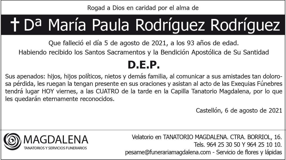 Dª María Paula Rodríguez Rodríguez