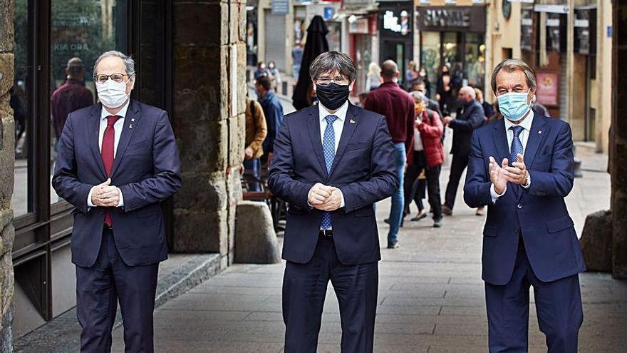Mas, Puigdemont y Torra, unidos por un día en Perpiñán