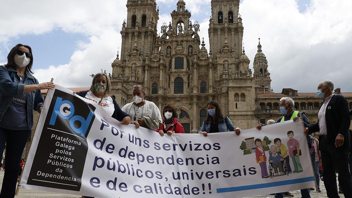 Los manifestantes se congregaron en la Praza do Obradoiro