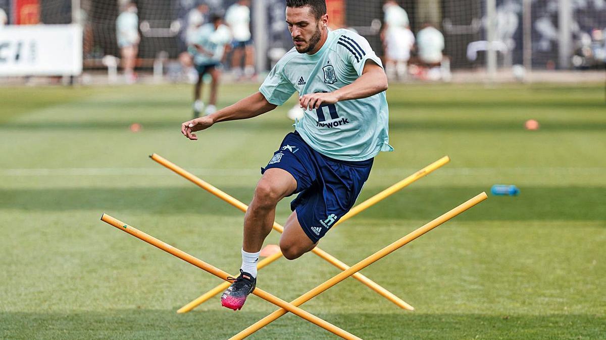 Koke Resurrección, en un entrenament amb la selecció espanyola.