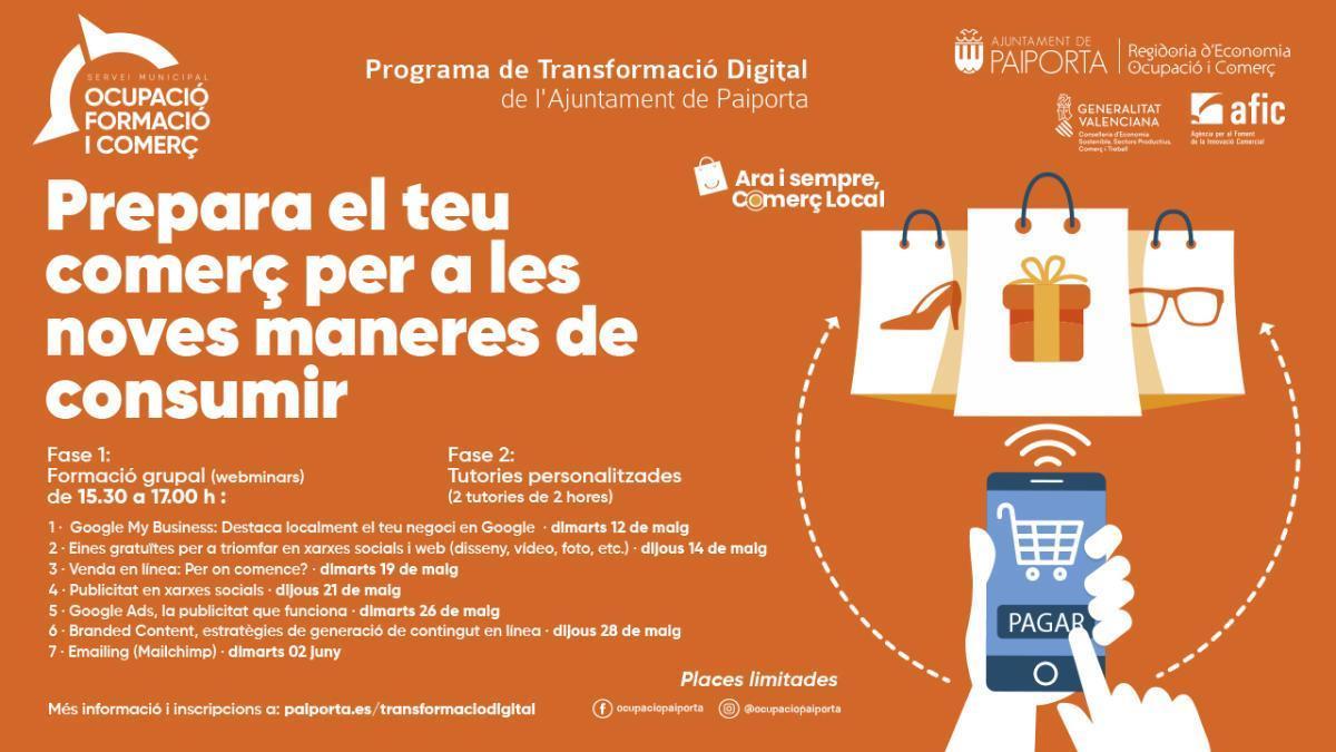 Paiporta pone en marcha un programa de transformación digital para negocios locales