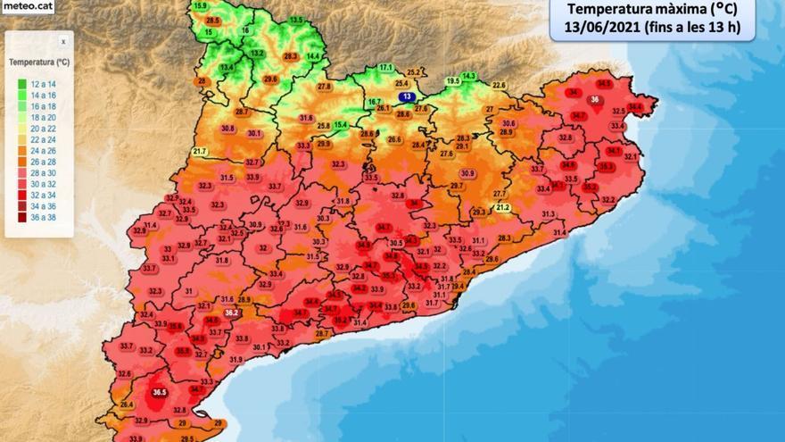 Cabanes, amb 37.6 graus, ha registrat la temperatura més alta d'aquest diumenge a Catalunya
