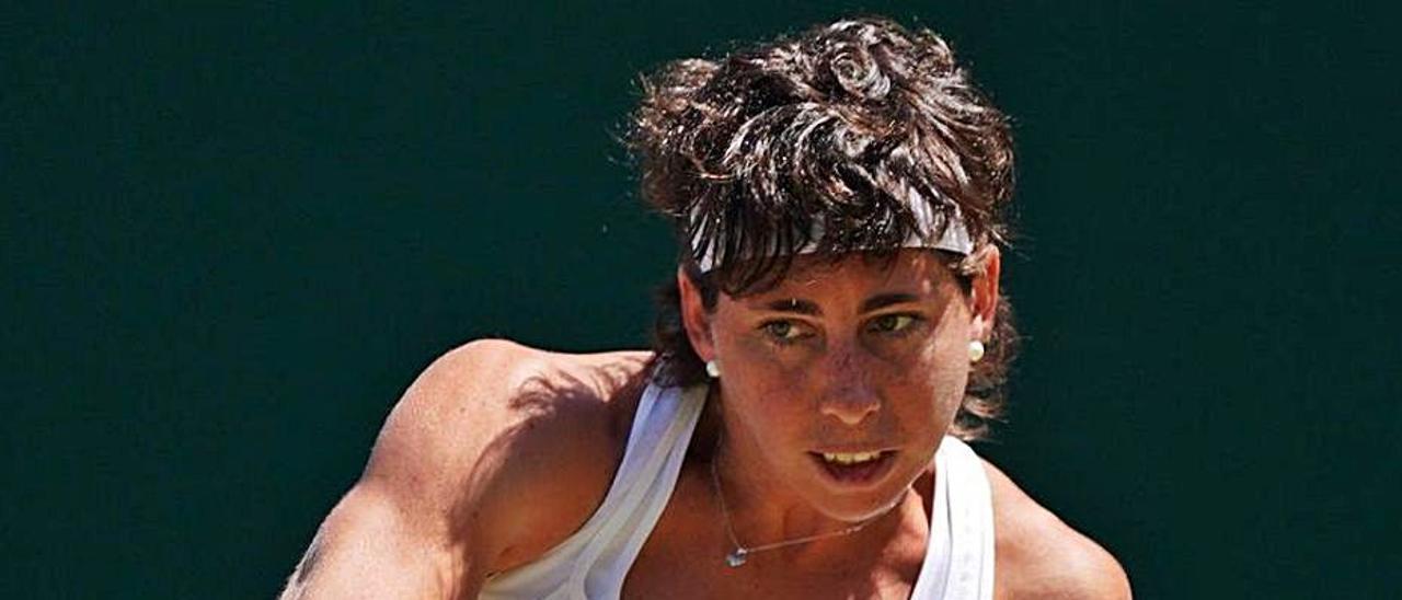 Carla Suárez, en su última participación en Wimbledon, en 2019.     EFE