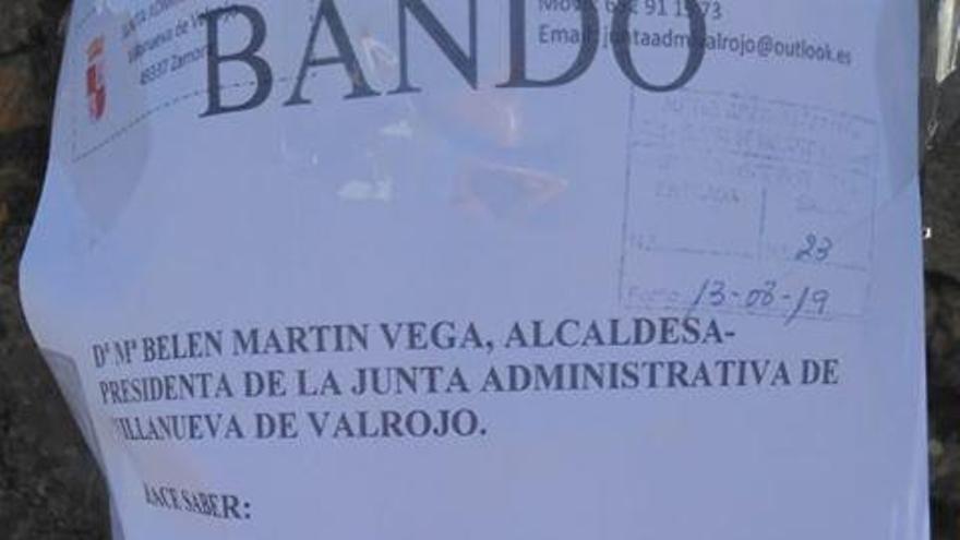 Bando municipal del Ayuntamiento de Villanueva de Valrojo por la que se prohíbe la tradición de los carriles.