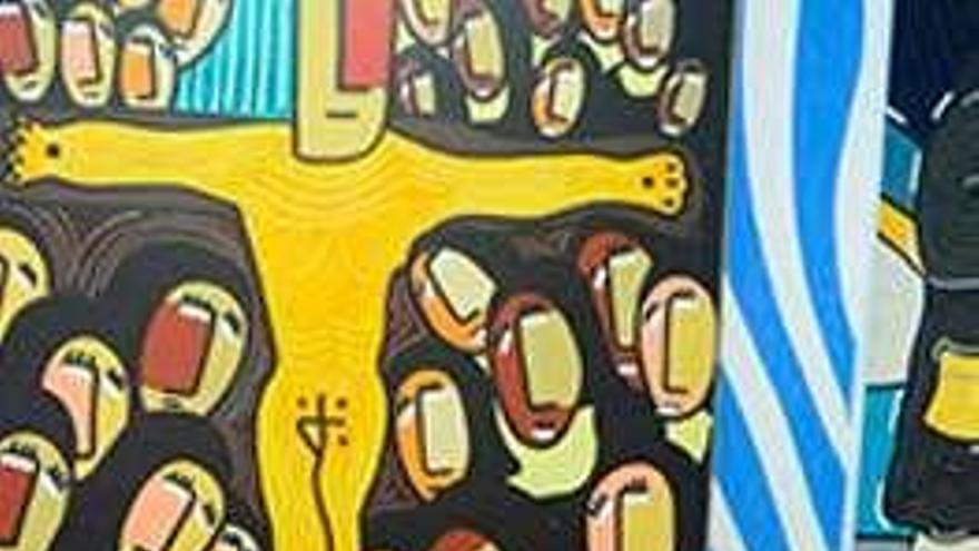 Velloso expone en Santiago sus pinturas curvilíneas sobre el patrimonio y figuras de folclore
