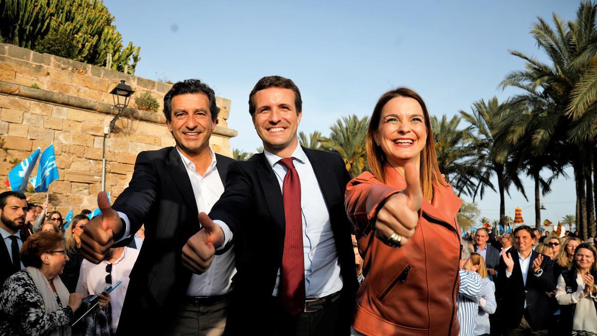 Prohens con Company y Casado en la campaña de 2019