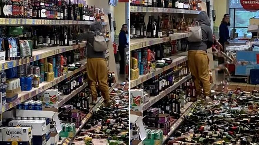 Caos en un supermercado: enloquece y destruye 500 euros en alcohol