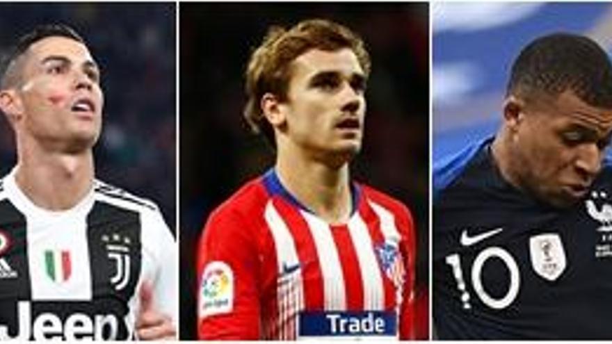 Cristiano Ronaldo, Griezmann y Mbappe, candidatos a mejor jugador de 2018