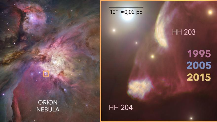 El IAC observa el impacto de un chorro protoestelar en Orión