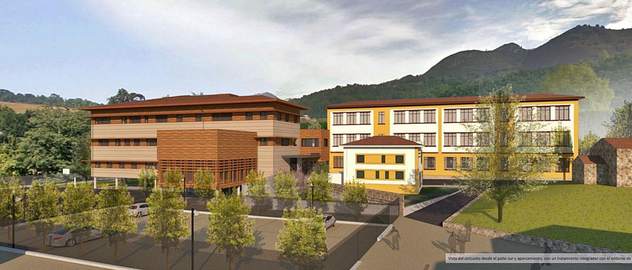 Montaje fotográfico que muestra cómo será el futuro instituto de Cangas de Onís. | Reproducción del proyecto del estudio de arquitectura  Duque y Zamora.