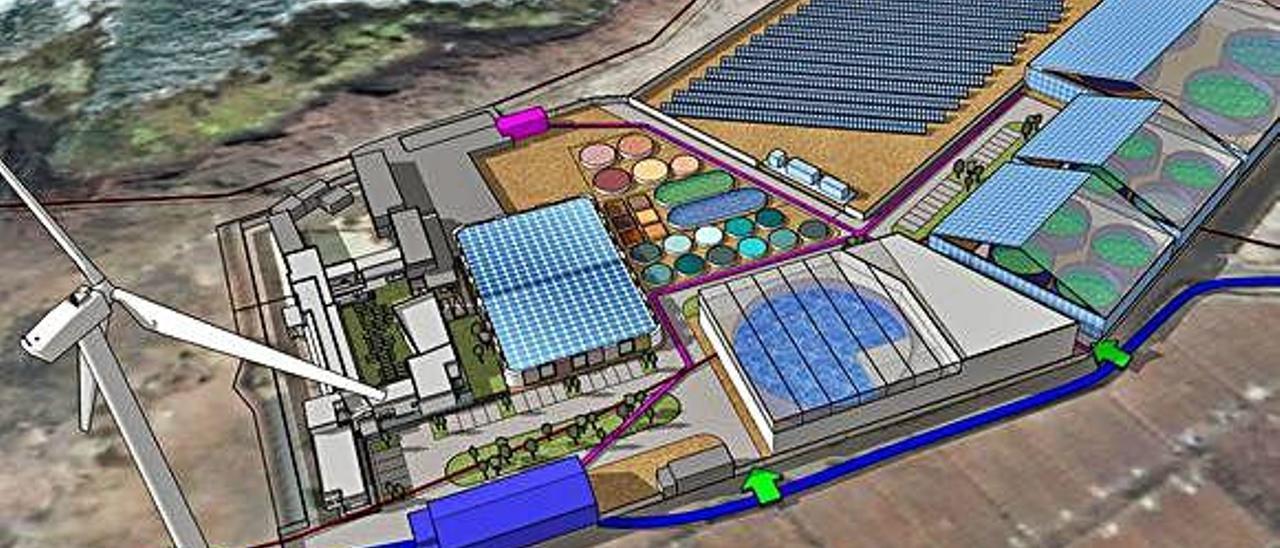 Infografía del Parque Científico Tecnológico de La Punta de Gáldar, con la zona de paneles solares ya instalados, la prevista piscifactoría y el resto de servicios.