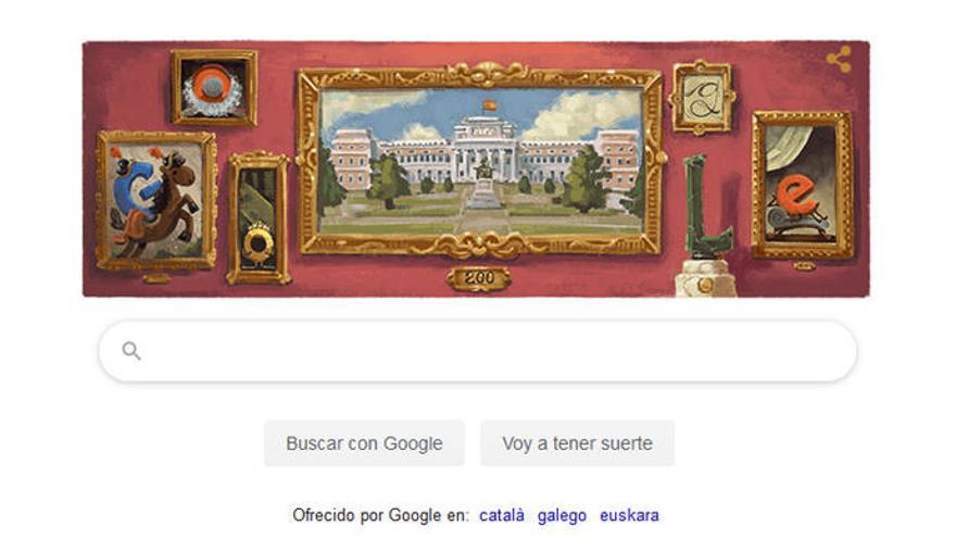 El Museo del Prado, en el 'doodle' de Google.