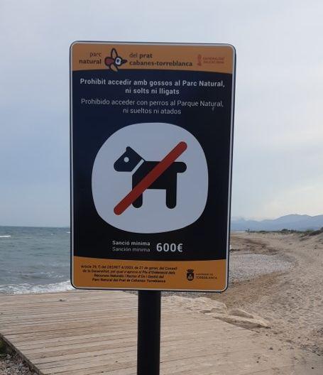 Imagen del cartel con la prohibición de entrar perros en la playa de Torreblanca.