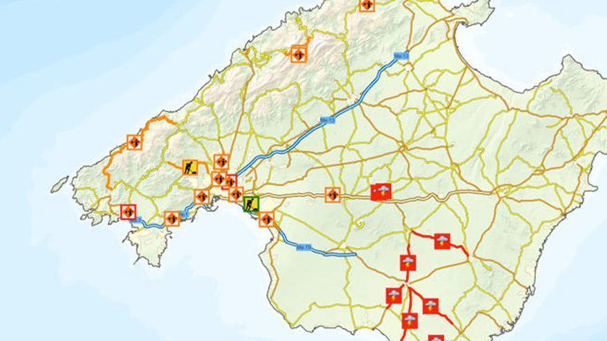 Mapa Carreteras De Mallorca.Estas Son Las Carreteras De Mallorca Cerradas Al Trafico Por El Temporal Diario De Mallorca