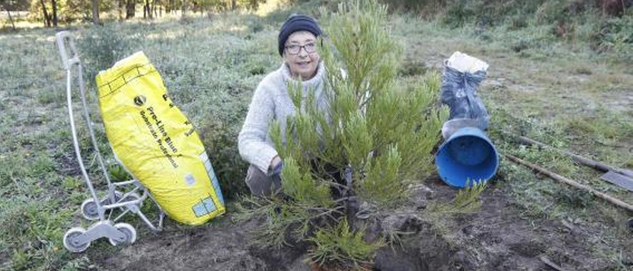 Paloma Amigo, en plena plantación de su sequoya en homenaje a una amiga, ayer.