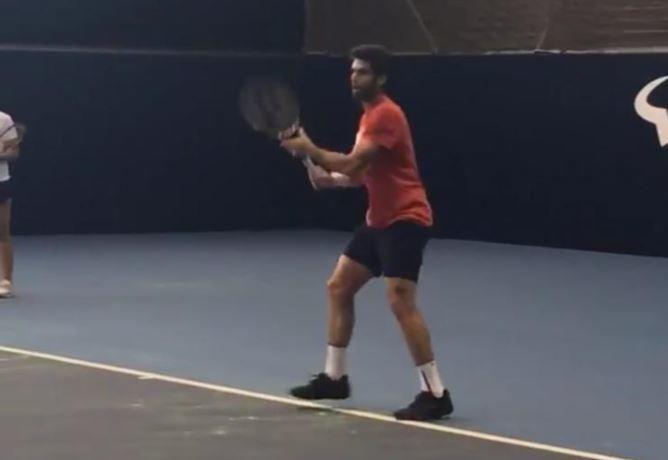 El tenista Pablo Andújar aprovechó la jornada para entrenar en la Academia de Rafa Nadal